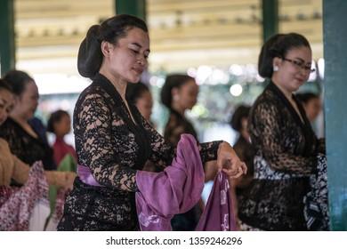 Yogyakarta-Keraton, Indonesia –2019: Dance practicing in Keraton Yogyakarta