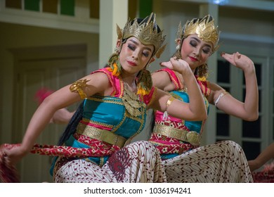 Yogyakarta,November, 08, 2017  Two Javanese female dancers perform in the training or governor's office in the framework of annual performances of Javanese cultural arts