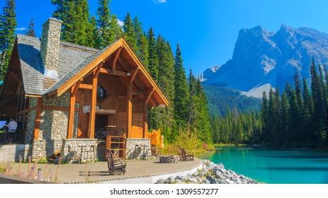 Yoho National Park, British Columbia/Canada - 09 14 2013: Emerald Lake Lodge near Emerald Lake