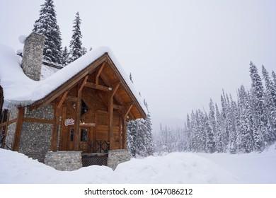 Yoho National Park, Canada - 23 Jan 2018: Landscape of the resort house inside Yoho National Park in winter. - Shutterstock ID 1047086212