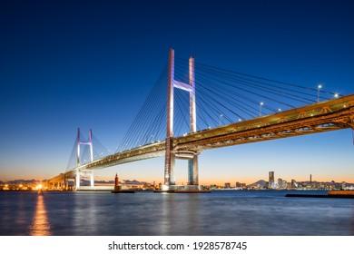 Yokohama Bay Bridge at night, Tokyo Bay, Japan