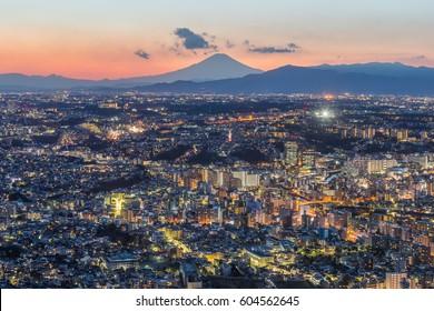 Yokohama city and Mt.Fuji in winter evening