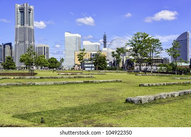 Yokohama City Park at panorama with skyline and skyscrapers