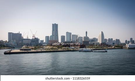Yokohama city view taken from International Passenger Terminal Yokohama, Yokohama, Japan - March 31th 2018