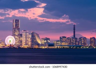 Yokohama Harbor with Mt Fuji in background