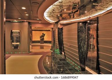 Yokohama, Japan - 04/28/2019: Cruiseship Interior Impressions (Cruiseship MSC Splendida in Yokohama)