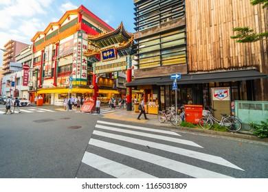 Yokohama japan 26 Jul 2018 : China town is the popular place for enjoy chinese food restaurant in yokohama city japan