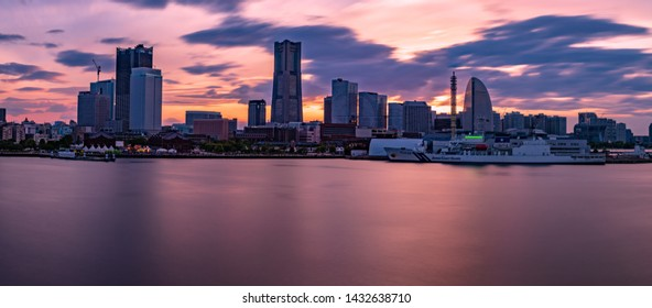 YOKOHAMA, JAPAN, 6 may 2019 The sunset view of the Yokohama Minato Mirai 21 area.