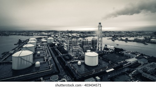 YOKOHAMA, JAPAN - Apr 07, 2016: View from the roof of Yokohama Isogo thermal power plant on the LNG Town Gas Supplier in a rainy day
