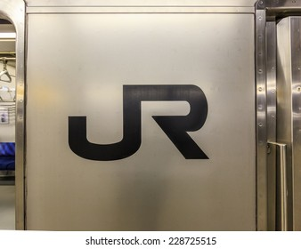 YOKOHAMA, JAPAN - APR 13: JR logo on the train at Yokohama station on Apr 13, 2014 in Yokohama. The JR took over most of the assets and operations of the government-owned Japanese National Railways.