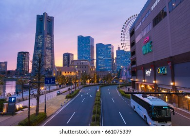 YOKOHAMA, JAPAN - April 10, 2017 : Cityscape of Yokohama, Minato mirai 21 colorful lighting from building in twilight
