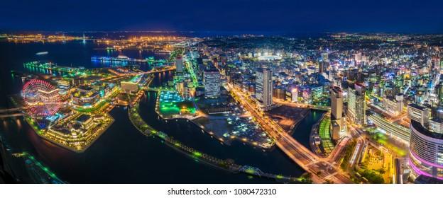 YOKOHAMA, JAPAN - APRIL 10 : Aerial view of Yokohama bay and the city on 10 April 2018 in Yokohama, Japan. Yokohama is the third biggest city in Japan.
