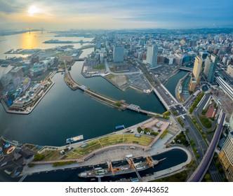 YOKOHAMA, JAPAN - APRIL 10 : Aerial view of Yokohama city and Yokohama bay on 10 April 2015 in Yokohama, Japan. Yokohama is the third biggest city in Japan.