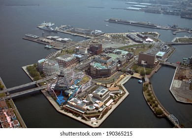 YOKOHAMA, JAPAN - APRIL 24 : Aerial view of the city on 24 April 2014. Yokohama, Japan. Yokohama is the third biggest city in Japan with one of the biggest ports of the Pacific Asia.