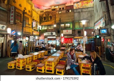 YOKOHAMA, JAPAN - APRIL 25 2012: Shin-yokohama Raumen Museum, devoted to Japanese ramen, features famous ramen dishes from all over Japan. The interior is a replica of old town in Tokyo in the 1950's.