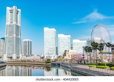 YOKOHAMA, JAPAN - April 6: Spring in Yokohama, Japan on April 6, 2016 viewed from Bankoku-Bridge.