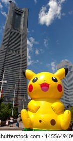 Yokohama, Japan - August 09, 2017: Pikachu Outbreak! 2017. A real-world event organized by The Pokémon Company in Yokohama Minato Mirai 21 area, Japan between August 9th and August 15th, 2017