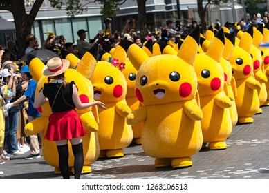 Yokohama, Japan - August 10, 2018: Pikachu Outbreak! 2018. Over 1,500 Pikachus to appear & parade in Yokohama for the Pikachu Outbreak event in Yokohama Minato Mirai 21 area.