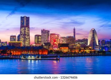 YOKOHAMA, JAPAN - FEBRUARY 18, 2019: Skyscraper at Minatomirai, Yokohama in twilight.