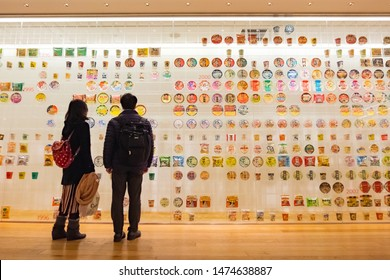 YOKOHAMA, JAPAN - FEBRUARY 18, 2019: History of Nissin instant noodles exhibited Inside CupNoodles Museum Yokohama, Japan.