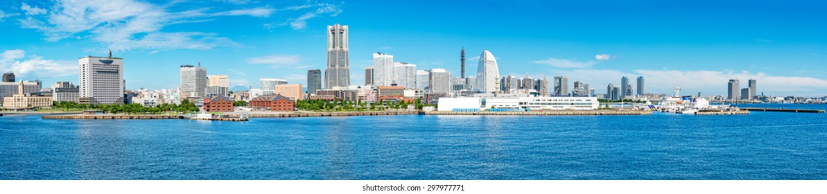 YOKOHAMA, JAPAN - July 19: Yokohama city landscape in Yokohama, Japan on July 19, 2015. Yokohama is the third biggest city in Japan.