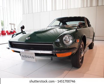YOKOHAMA, JAPAN - July 2nd, 2019: 1970 Nissan Fairlady Z-L, one of the cars displayed at the Nissan Global Headquarters Gallery in Yokohama, Japan.