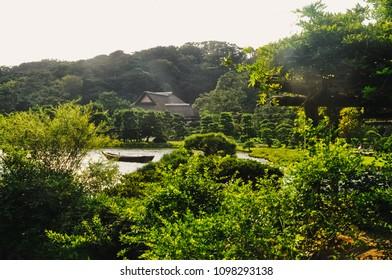 YOKOHAMA, JAPAN - JULY 31, 2012: View on Sankeien Garden in summer