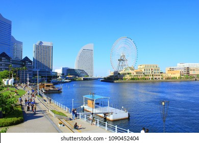 YOKOHAMA, JAPAN - May 4, 2018: View of Yokohama Minato Mirai 21 waterfront area. The Minato Mirai 21 area is a popular tourist destination in the Greater Tokyo area in Japan.