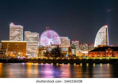 Yokohama, Japan - Nov 20, 2017 : Night of Yokohama City Port. Yokohama Minato Mirai 21 seaside urban area in central Yokohama on Nov 20, 2017 Japan.