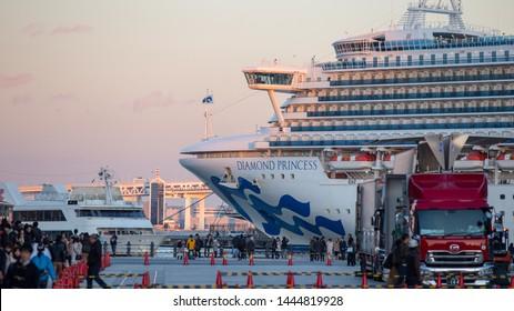 Yokohama, Japan - Nov 20, 2017 : Beautiful cruise ship Diamond Princess floating at the Osanbashi Pier in port of Yokohama bay, Japan on Nov 20, 2017.