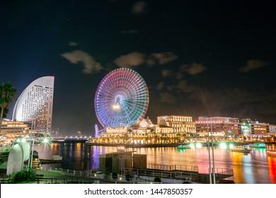 Yokohama, Japan - Nov 20, 2017 : Beautiful of Yokohama City Port. Yokohama Minato Mirai 21 seaside urban area in central Yokohama on Nov 20, 2017 Japan.