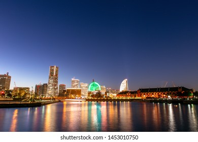 Yokohama, Japan - Nov 20, 2017 : Beautiful of Yokohama City Port. Yokohama Minato Mirai 21 seaside urban area in central Yokohama on Nov 20, 2017 Japan.
