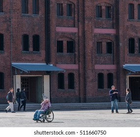 YOKOHAMA, JAPAN - NOVEMBER 7TH, 2016. Tourist and visitors at Yokohama Red Brick Warehouse. The historical warehouse was converted to a shopping mall, banquet hall, and event venues in 2002.