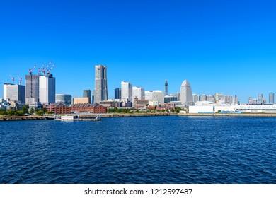 YOKOHAMA, JAPAN - October 21, 2018: Yokohama city buildings in Yokohama, Japan at Osanbashi-Pier.