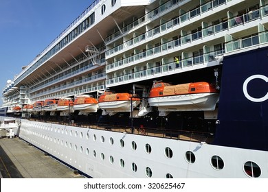 YOKOHAMA, JAPAN - September 22, 2015 Celebrity Millennium is the flagship of the Millennium-class cruise ships, operated by Celebrity Cruises line.