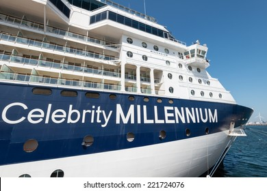 YOKOHAMA, JAPAN - SEPTEMBER 28, 2014: A luxury liner Celebrity Millennium (91,000 tons) is moored at the Osanbashi Pier. It is a cruise ship owned and operated by Celebrity cruises.