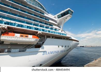 YOKOHAMA, JAPAN - SEPTEMBER 9, 2016: A luxury liner Diamond Princess (115,875 tons) is moored at a pier in Yokohama, Japan. Diamond Princess is a cruise ship owned and operated by Princess Cruises.