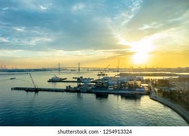 Yokohama, Kanagawa / Japan - December 03 2018: Minato Mirai future port of Yokohama cityscape view of the sea and commercial buildings cityscape