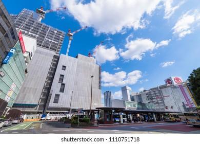 YOKOHAMA, KANAGAWA / JAPAN - JUNE 2 2018 : Scenery of JR Yokohama Station West Exit. Redevelopment work is proceeding around the station, high-rise buildings are under construction.