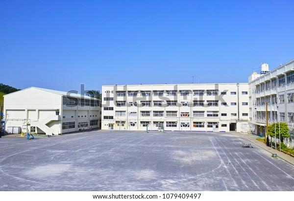 Yokohama, Kanagawa/Japan-April 29, 2018: The appearance of the school building of the Yokohama municipal Katuradai primary school, the gymnasium and the schoolyard.