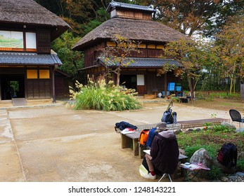 Yokohama Kanagawa,Japan/Oct 16,2018:a man sketching in Misono park traditional Japanese house called Kominka on Japanese