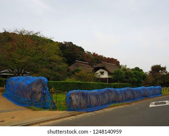 Yokohama Kanagawa,Japan/Oct 16,2018:entrance of MIsono park traditional Japanese house called Kominka on Japanese