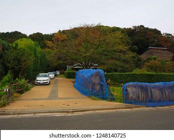 Yokohama Kanagawa,Japan/Oct 16,2018:parking space of MIsono park traditional Japanese house called Kominka on Japanese