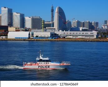 Yokohama Kanagawa,Japan/Oct 29,2018:Ashigara coast guard boat of Kanagawa prefectual police
