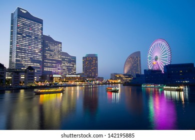 YOKOHAMA - MAY 24:View of Yokohama city at night in Japan on May 24 , 2013. Yokohama is Japan's second largest city, the population is over 3 million nowadays.