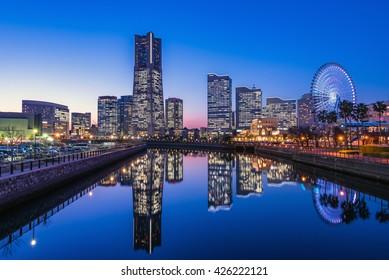 Yokohama Minato Mirai 21 seaside urban area in central Yokohama at dusk