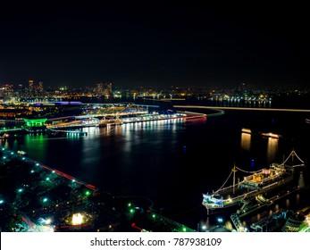 Yokohama Minato-Mirai area Nightscape with luxury cruise ship