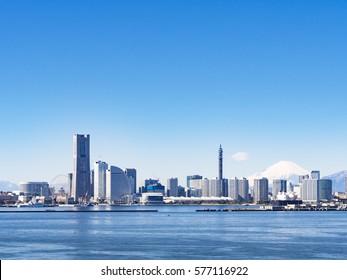 Yokohama Minatomirai Cityscape and Mt.Fuji in Yokohama City, Kanagawa Prefecture, Japan. Yokohama MinatoMirai is an area facing Yokohama Port