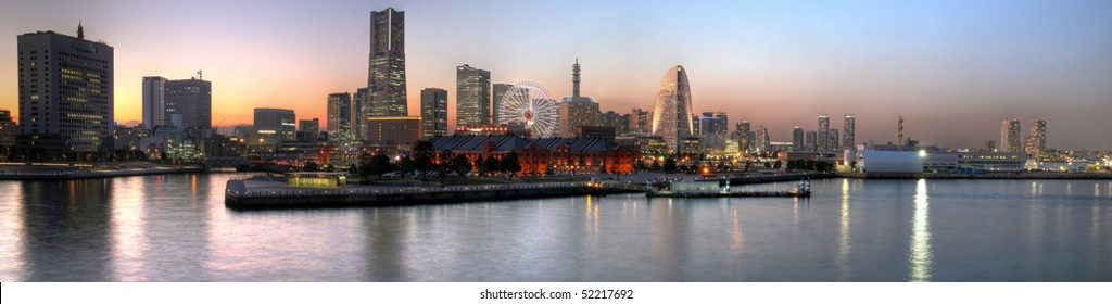 Yokohama panoramic at sunset, Japan (HDR images)