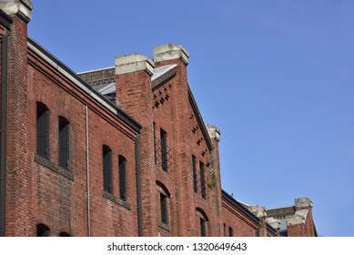 Yokohama Red Brick Warehouse, Yokohama City, Kanagawa Prefecture, Japan. Renovated a brick warehouse which is a historic building. Currently it is a sightseeing spot as a commercial facility.